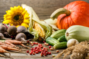 Pumpkin, berries and harvest vegetables on wooden background