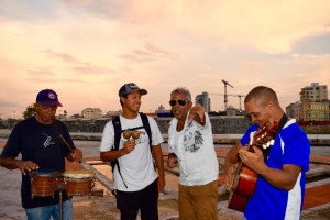 Playing with a band on the Malecon